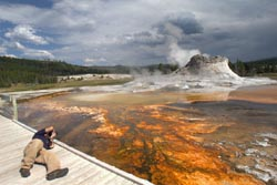 Photographing Castle Geyser, Yellowstone National Park